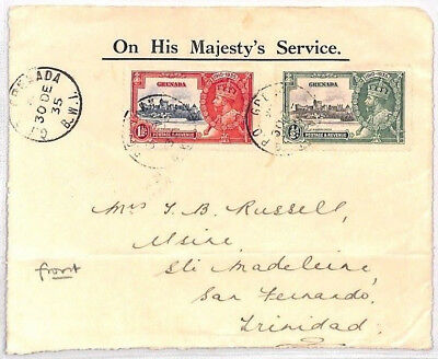 BN162 1935 Grenada Official OHMS Cover Front KGV Silver Jubilee Franking PTS