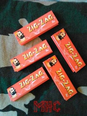 5 Books! ZIG-ZAG Red 1.0 Cigarette Rolling Papers!