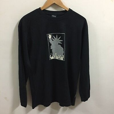 Keith Haring STATUE DRAWING Pop Art Faded Black T Shirt Authentic Estate L L/S