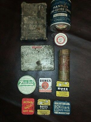 Lot of 11 Antique Tins- Misc Medical tins, fuses and hardware store