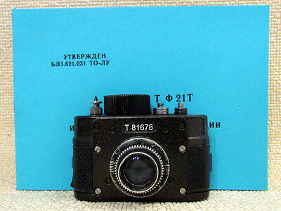 AJAX F-21 Vintage USSR Soviet Military KGB SPY 21mm Mini Camera + Spool + Manual