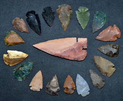"18 PC Flint Arrowhead Ohio Collection Points 1-3"" Spear Bow Knife Hunting Blade"