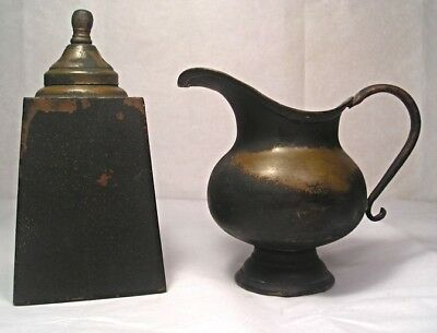 A Pair of Antique Period Copper Sugar and Cream M1