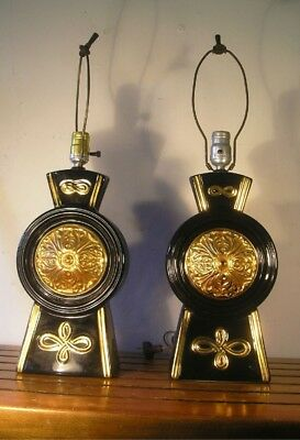Vintage Wonderful Pair Heavy Mid Century 1950's 1960's Lamps Black and Gold MA9