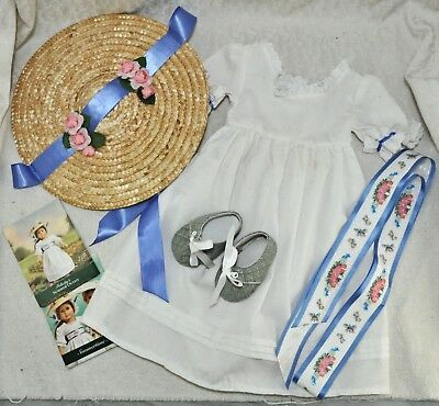 American Girl Felicity Elizabeth Summer White Dress Hat Shoes Outfit RETIRED