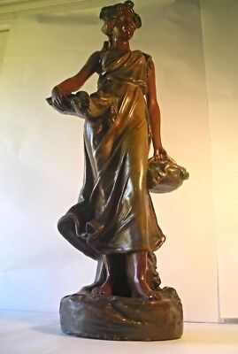 A Fairly Large Antique Chalkware Statue M93