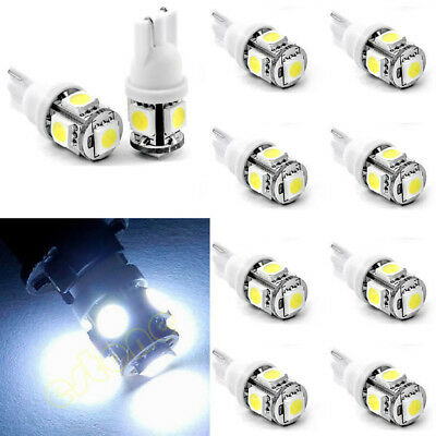 10PCS T10 5050 W5W 5 SMD 194 168 LED Weiß Car Wedge Tail Light Lamp 12X30m AIP