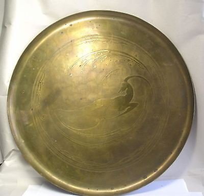 An Antique Art Deco Brass Tray with Antelope Design by Hyman Blum Pittsburgh Z37