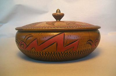 A Vintage Japanese Turned Wood And Carved Painted Box Z7