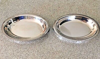 """Pair Of Vintage Silverplate  Oval Double Handle Trays  10.5"""""""