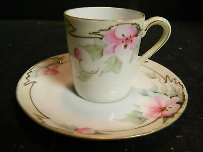 Vintage Hand Painted Gilded Nippon Tea Rose Demitasse Cup & Saucer Excellent Con