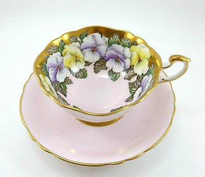 Beautiful Paragon Tea Cup Pink and Gold with Flowers garland