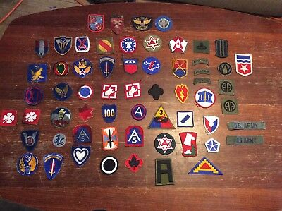 Large lot of US Army Military Patches WW2 to Vietnam 62 pieces $2 per patch!