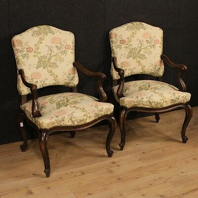 Pair armchairs Italian furniture chairs walnut wood living room antique style XX