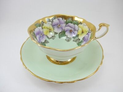Beautiful Paragon Tea Cup Mint Green and Gold with Flowers garland