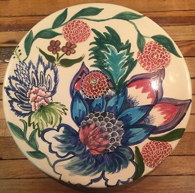 Mississippi Rhonda Rayborn Studio Art Pottery Large Round Tray Charger Plate 14""