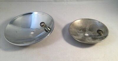 Lot Of 2 Antique Miner's Carbide Lamp Light Reflectors 1 NOS Never Used