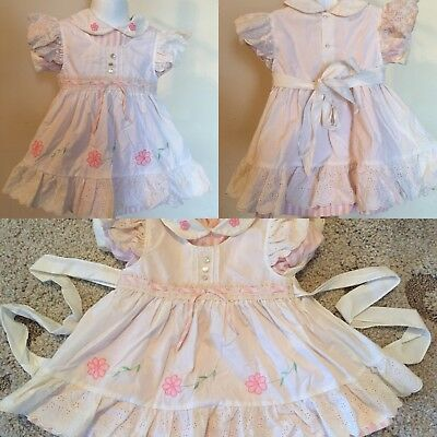 Vtg Girl's 2 PIECE Pink White Pinafore Eyelet Floral Flutter Sleeve Dress Sz 4