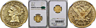 1879 $5 Gold Coin NGC MS-62+ CAC