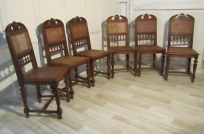Set of 6 French Provincial Carved Walnut Dining Chairs