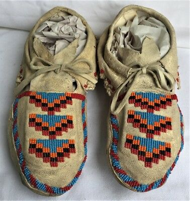 Vintage Antique Native American Hide Beaded Sioux Indian Moccasins Bead Work Nr!