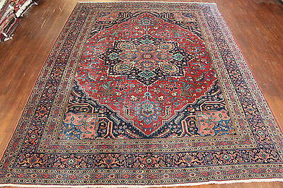 Authentic Hand Made Antique Persian Tabriz 10'3 X 13'8 100% Wool Area Rug Carpet