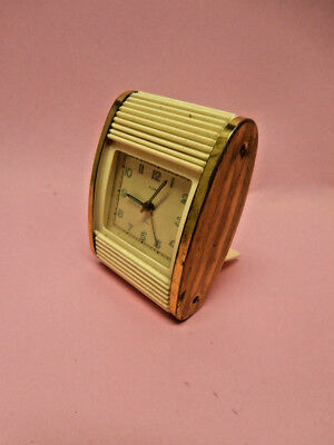 Vintage US Zone Germany Florn Jewel Travel Alarm Clock Wind UP Alarm Works