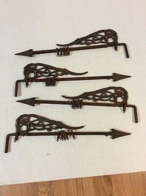 Lot Of 4 Victorian Ornate Antique Cast Iron Swing Arm Adjustable Curtain Rods