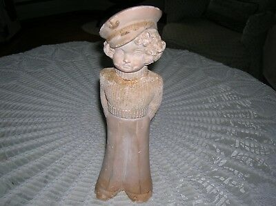 Vtg. Chalkware Carnival Prize Sailor Girl Figurine, Shirley Temple (?)