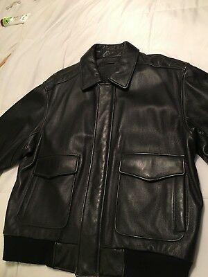 Roundtree And Yorke Black Leather Jacket..heavy Duty..warm..xl..motorcycle Coat?