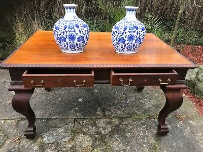 Large Antique 19th Century Regency Style Rosewood Writing Table Partners Desk