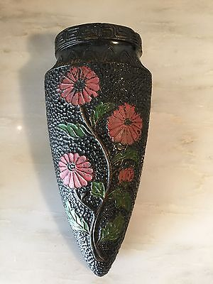 Vintage Black Wall Pocket vase with Red flowers Made In Japan