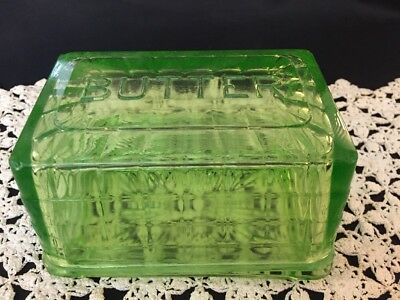Antique Covered Butter Dish Green Depression Anchor Hocking Block Optic Glass