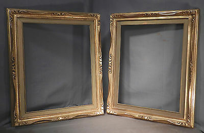 Pair Vintage Sgrafitto Carved Gilt Wood Italian Picture Frames 16x20 Baroque