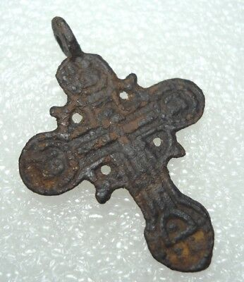 Ancient Bronze Cross Wearable Pendant Antique Rare