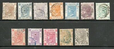 HONG KONG 1863 VICTORIA SG8-19 FULL SET TO 96c  WMK CROWN CC - GOOD TO FINE USED