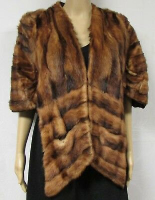 Vintage 50s 60s Shawl Wrap Genuine Mink Fur Stole Old Hollywood Glam Retro Red