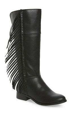 bc6af49358f NWT STEVIES STEVE Madden Tall Riding Boot Boots w Fringe Sz 3 Black Side  Zip $70