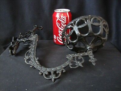 Vintage Cast Iron Kerosene Oil Lamp Sconce Swing Arm Wall Holder W/ Bracket
