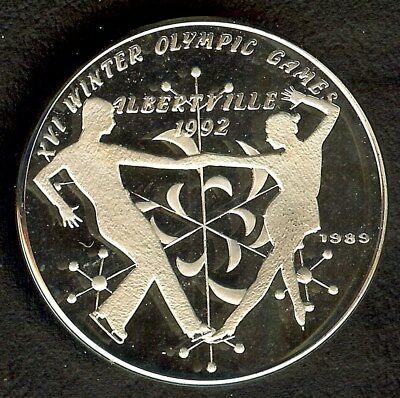 Laos 1989 Silver 50 Kip  Km#35.1  Ice Dancing   Near Perfect Proof Dcam
