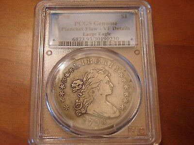 1798 Draped Bust Large Eagle Silver $1 Dollar w/ Planchet Flaw (PCGS VF)