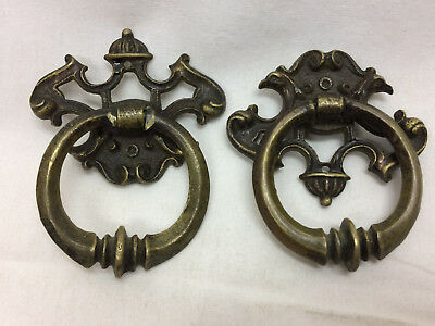 2 Vintage Drawer Pulls DIY Project Hardware Brass Stamped 6496 Ornate Ring Pull