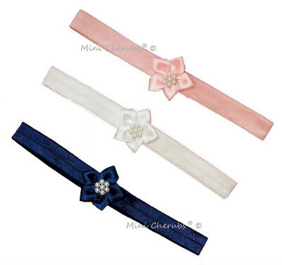 Baby Girls Stretch Headband With Satin Poinsettia Flower White Navy Pink