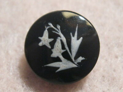 Antique Button - Black Glass Painted Flower