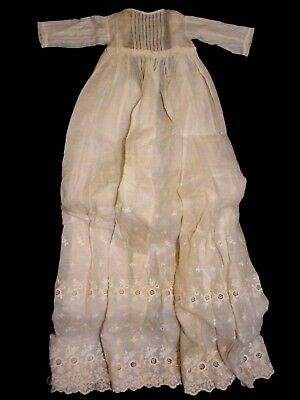 The Finest - Antique Baby Christening Gown W/ Embroidery - Fabulous!!!