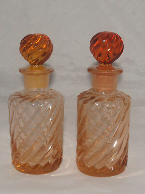 Antique Victorian Glass Pair Of Baccarat Perfume Bottles Rose Tiente Swirl
