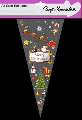 MERRY CHRISTMAS - Cone Bags - Party Bags - Sweets - Cellophane Bags + Twist Ties