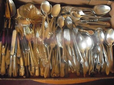 150 Pc Mixed Lot Silverplate/Antique Flatware/Serving   #154
