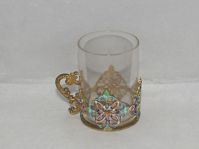 Antique Russian Enamel Decorated Miniature Tea Vodka Liquor Cup Brass And Glass