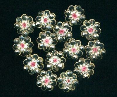 One Antique Victorian Button..Hand Painted French Enamel Roses Cut Steel..Dimi